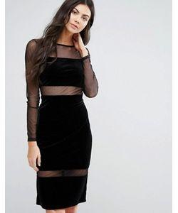 First & I   Облегающее Платье Миди Со Вставками И Длинными Рукавами