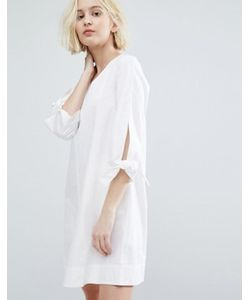 Native Youth | Minimal A-Line Dress With Tie Sleeve Details
