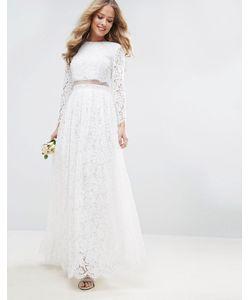 Asos | Кружевное Платье Макси С Кроп-Топом И Длинными Рукавами Bridal