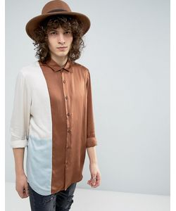 Asos | Рубашка Стандартного Кроя Из Драпированной Ткани Со Вставками