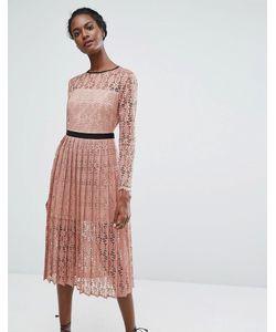 Endless Rose | Кружевное Платье Миди С Плиссированной Юбкой