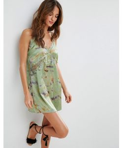 Asos | Пляжное Платье На Бретельках С Кружевной Отделкой И Принтом Тай-Дай