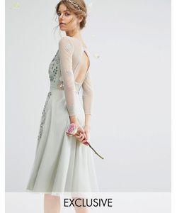 Amelia Rose | Платье Миди С Длинными Рукавами Открытой Спиной И Отделкой