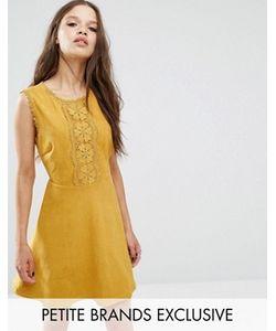 Glamorous Petite | Короткое Приталенное Платье Под Замшу С Аппликацией