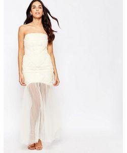 JARLO | Платье-Бандо С Шифоновым Верхним Слоем Макси