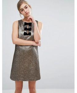 Miss Selfridge | Цельнокройное Платье Металлик С Бархатными Бантами
