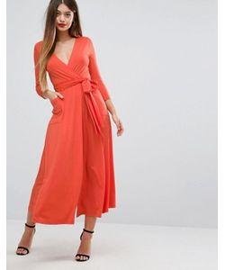 Asos   Трикотажное Платье Макси С Запахом