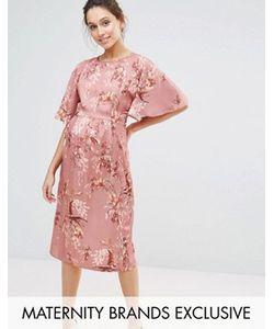 Hope and Ivy Maternity | Платье Миди В Стиле Кимоно С Цветочным Принтом Hope Ivy