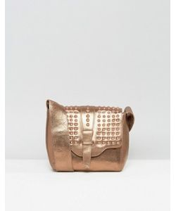 URBANCODE | Real Leather Bronze Cross Body Bag With Tonal Studded Flap