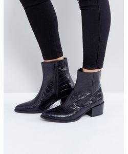 Vagabond | Черные Кожаные Ботинки С Эффектом Крокодиловой Кожи Marja