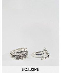 DesignB London | Набор Из 2 Колец С Треугольником И Пером Эксклюзивно