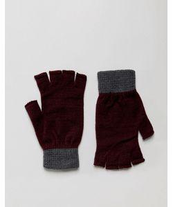 Asos   Бордовые Перчатки Без Пальцев С Серыми Манжетами