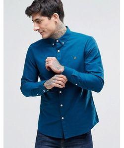 Farah | Синяя Оксфордская Рубашка Слим