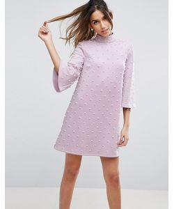 Asos | Цельнокройное Платье Мини С Расклешенными Рукавами И Искусственным Жемчугом