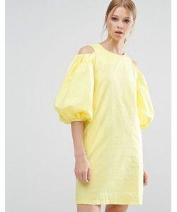 Style Mafia   Желтое Платье С Вырезами На Плечах