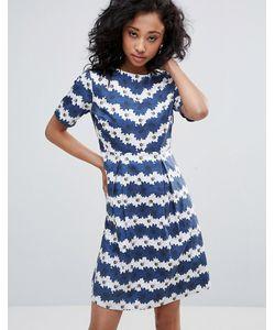 Uttam Boutique | Короткое Приталенное Платье В Цветочную Полоску