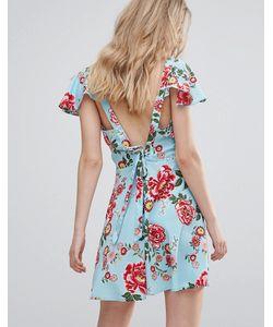 Influence | Чайное Платье С Завязкой На Спине Рукавами Клеш И Цветочным Принтом