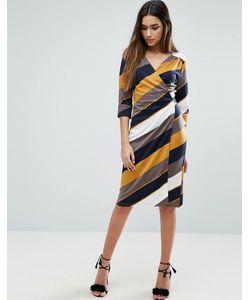 Traffic People | 3/4 Wrap Dress In Stripe Print