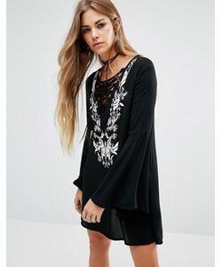 Lira | Богемное Платье Со Шнуровкой Спереди И Вышивкой
