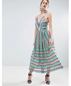 Asos | Кружевное Платье Миди Для Выпускного С Бретельками На Спине Salon