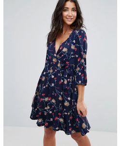 Yumi | Платье С Запахом И Цветочным Принтом