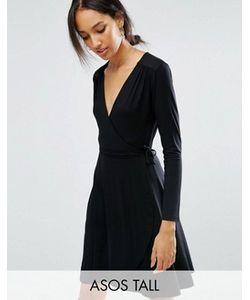 ASOS TALL | Чайное Платье Мини С Запахом И Длинными Рукавами