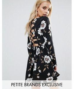 Glamorous Petite | Платье С Цветочным Принтом И Шнуровкой Сзади