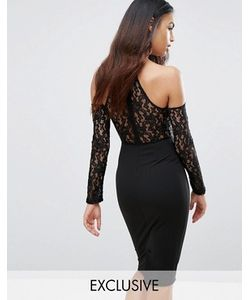 NaaNaa | Платье Миди С Чокером Кружевным Топом И Открытыми Плечами