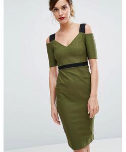 Vesper   Платье Миди С Контрастными Бретельками