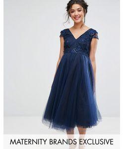 Chi Chi Maternity | Платье С Цветочной Аппликацией На Лифе И Юбкой Из Тюля Chi