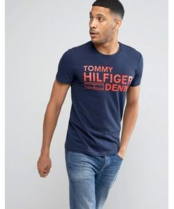 Hilfiger Denim | Темно-Синяя Футболка С Крупным Логотипом Tommy