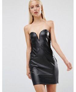TFNC | Платье Из Полиуретана С Лифом-Бандо