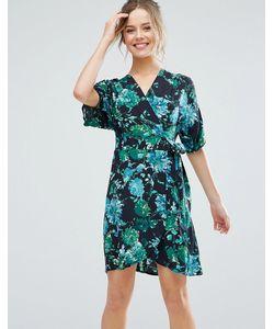 Closet London | Короткое Приталенное Платье С Короткими Рукавами И Тропическим Принтом