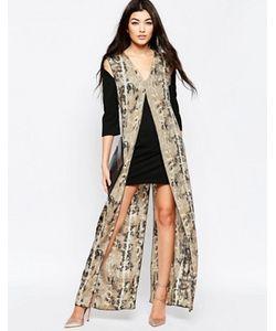 Liquorish | Цельнокройное Платье С Длинной Накладкой Со Змеиным Принтом