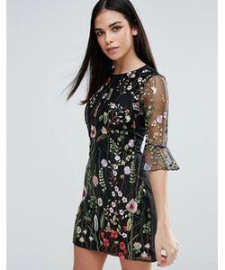 Lipsy   Цельнокройное Платье С Цветочной Вышивкой