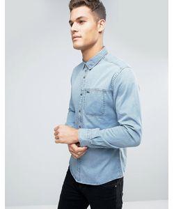 Esprit | Узкая Джинсовая Рубашка С Нагрудным Карманом