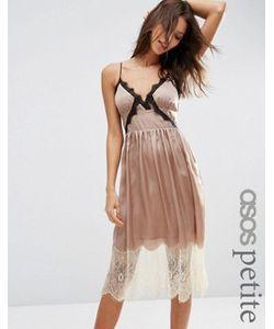 ASOS PETITE | Атласное Платье Миди С Контрастным Кружевом