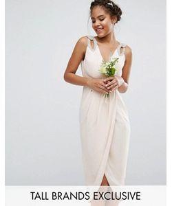 TFNC Tall | Платье Миди С Запахом И Отделкой Wedding