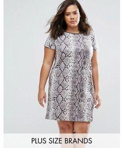 Elvi   Платье Из Искусственной Замши С Принтом Под Змеиную Кожу Plus