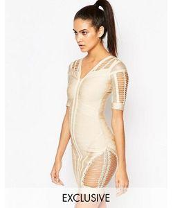 WOW Couture | Облегающее Бандажное Платье С Ажурными Вставками