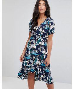 Yumi | Платье Миди С Цветочным Принтом И Асимметричным Подолом