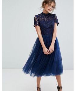 Chi Chi London   Платье Миди С Кружевным Лифом И Тюлевой Юбкой