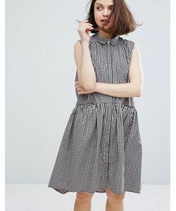Monki | Платье В Клеточку С Ярусным Подолом