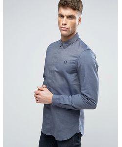 Fred Perry | Темно-Синяя Узкая Рубашка Со Скрытой Планкой