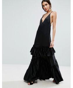 Asos | Платье Макси На Тонких Бретельках С Ярусными Оборками