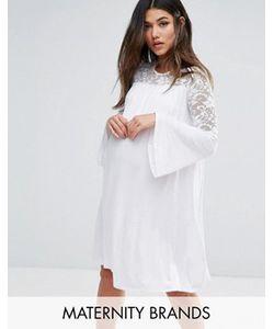 Bluebelle Maternity | Свободное Платье С Расклешенными Рукавами И Кружевными Вставками