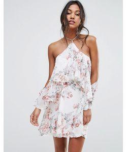 boohoo   Платье С Цветочным Принтом С Открытыми Плечами И Оборкой