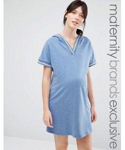 Bluebelle Maternity | Трикотажное Платье Для Дома С Капюшоном И Отделкой
