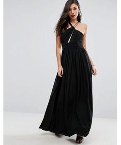 Style Stalker | Атласное Платье Макси С Глубоким Вырезом И Разрезом До Бедра Stylestalker