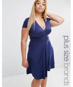 Club L Plus | Платье С Глубоким Вырезом Спереди И Короткими Рукавами